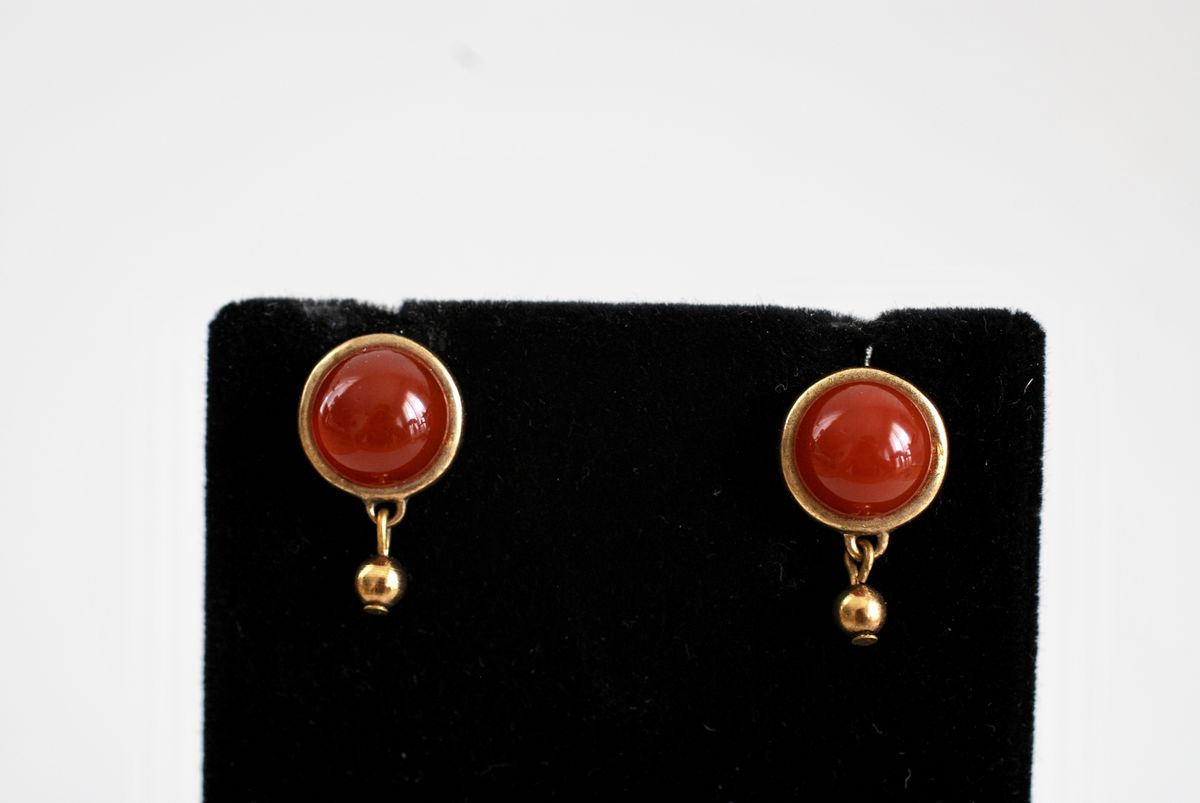 Carnelian Red Cabochon Earrings Post Style Pierced - product image