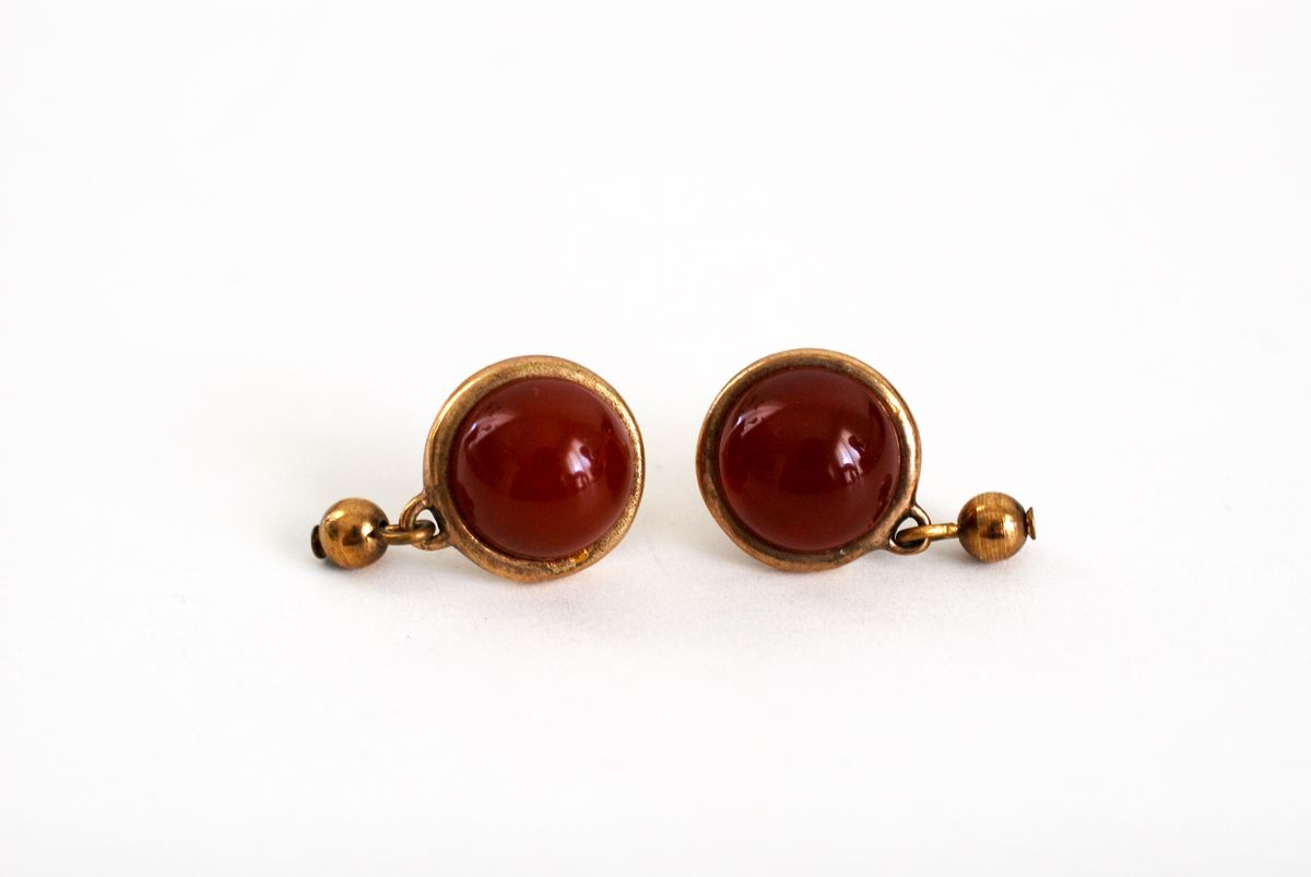 Carnelian Red Cabochon Earrings Post Style Pierced - product images  of