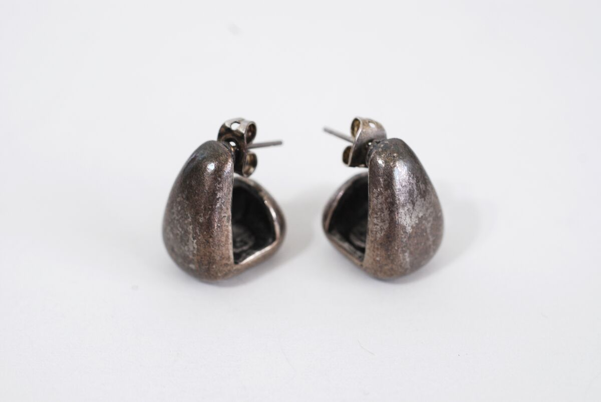 Vintage Chico's Geometric Burnished Pewter Earrings Ear Huggers - product image