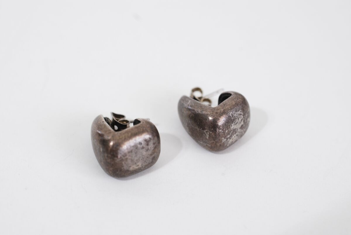 Vintage Chico's Geometric Burnished Pewter Earrings Ear Huggers - product images  of
