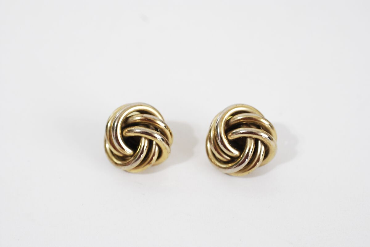 Gold Tone Love Knot Earrings Post Style Pierced - product image