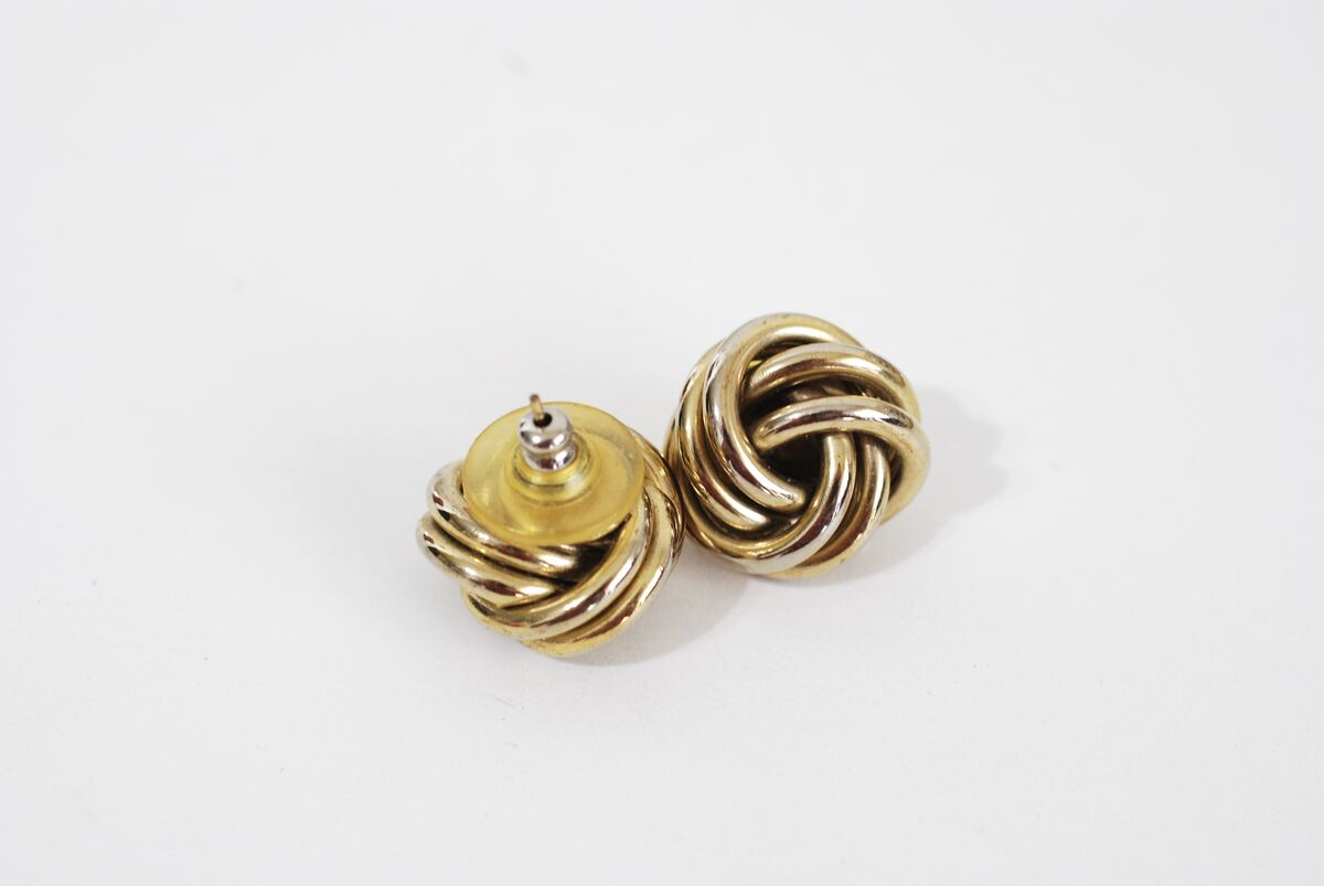 Gold Tone Love Knot Earrings Post Style Pierced - product images  of