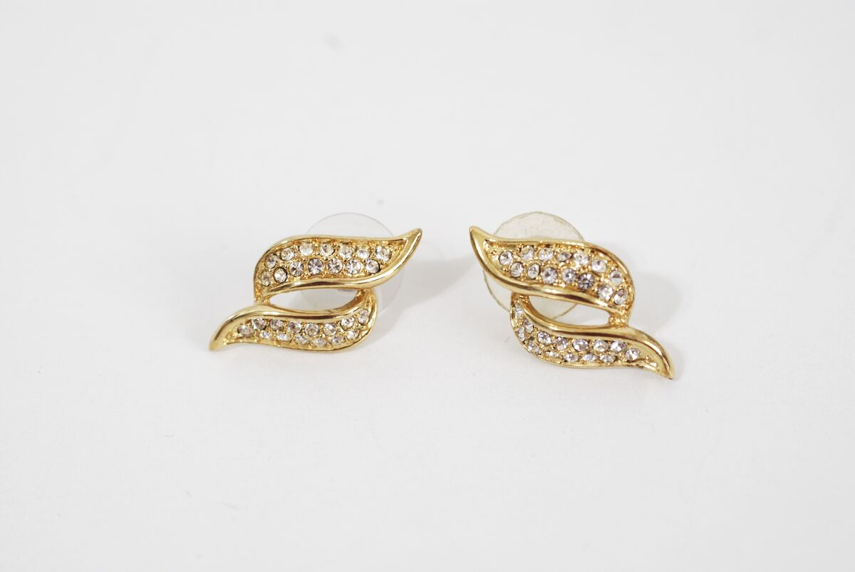 Rhinestone Encrusted S Shaped Earrings - product image