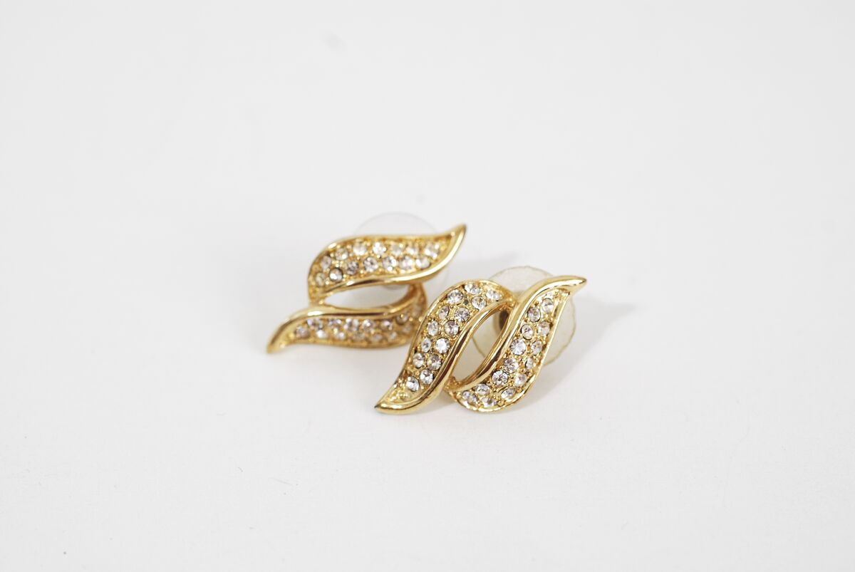 Rhinestone Encrusted S Shaped Earrings - product images  of