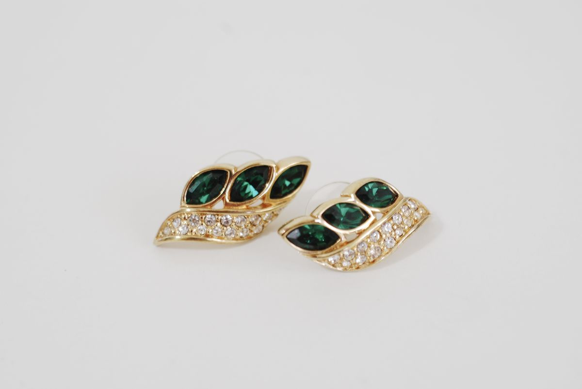 Emerald Green Triple Marquise Rhinestone Earrings - product images  of