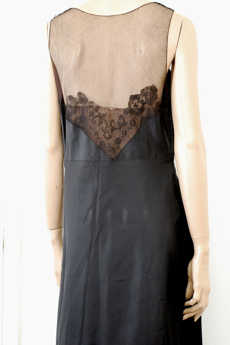 1930s Black Taffeta Evening Dress w/Lace Insets Size Large - product images  of