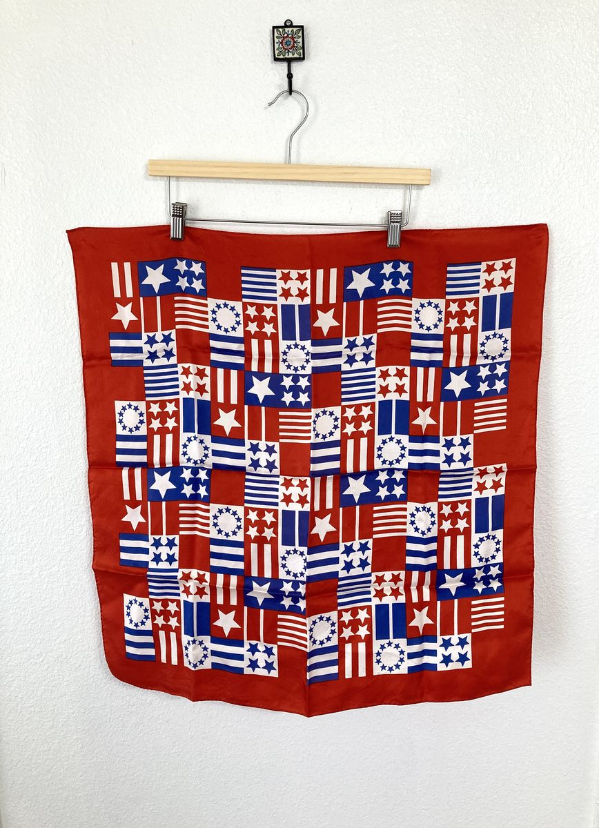 Red White and Blue Stars and Stripes Vintage Scarf - product image