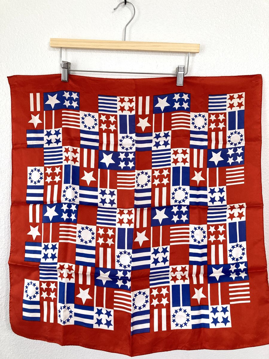 Red White and Blue Stars and Stripes Vintage Scarf - product images  of