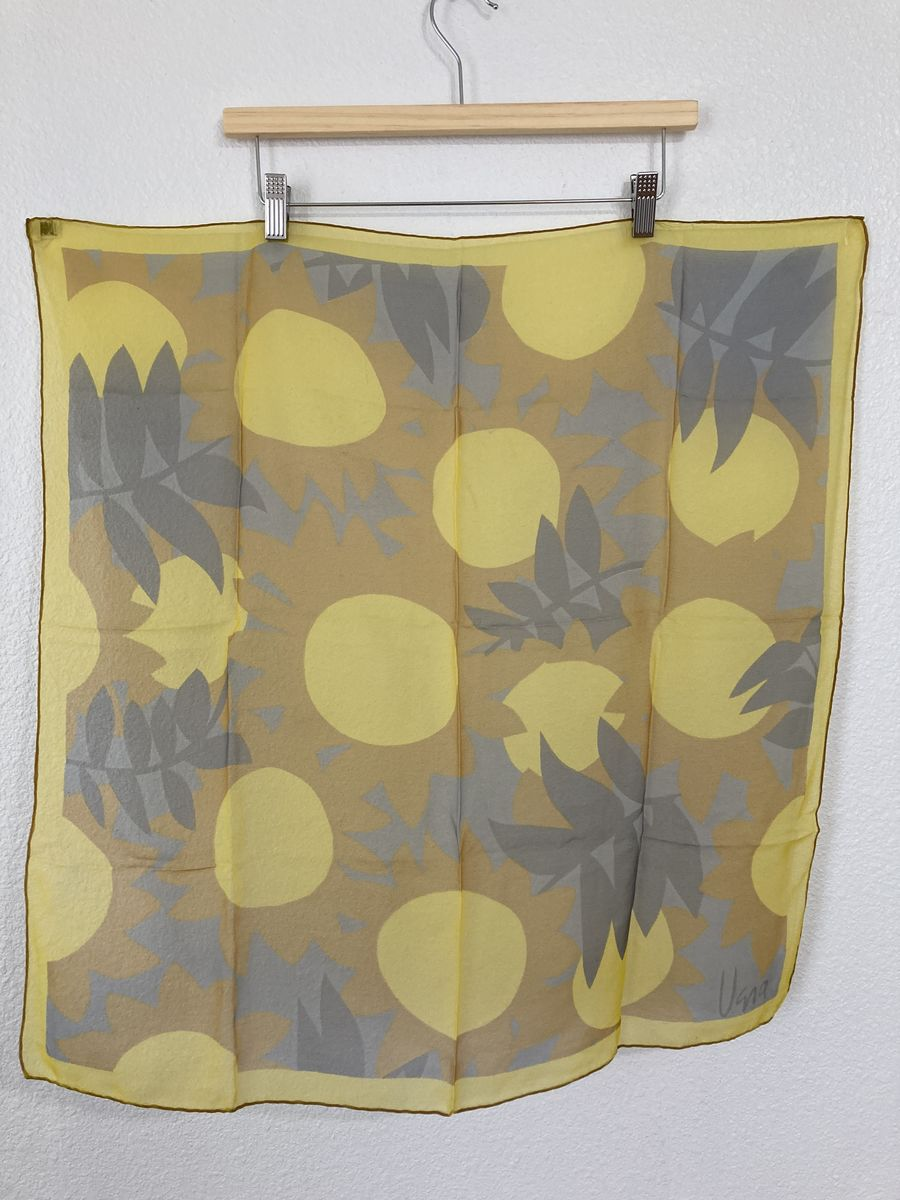 Vera Sheer Scarf with Yellow and Gray Sunflowers and Leaves - product images  of