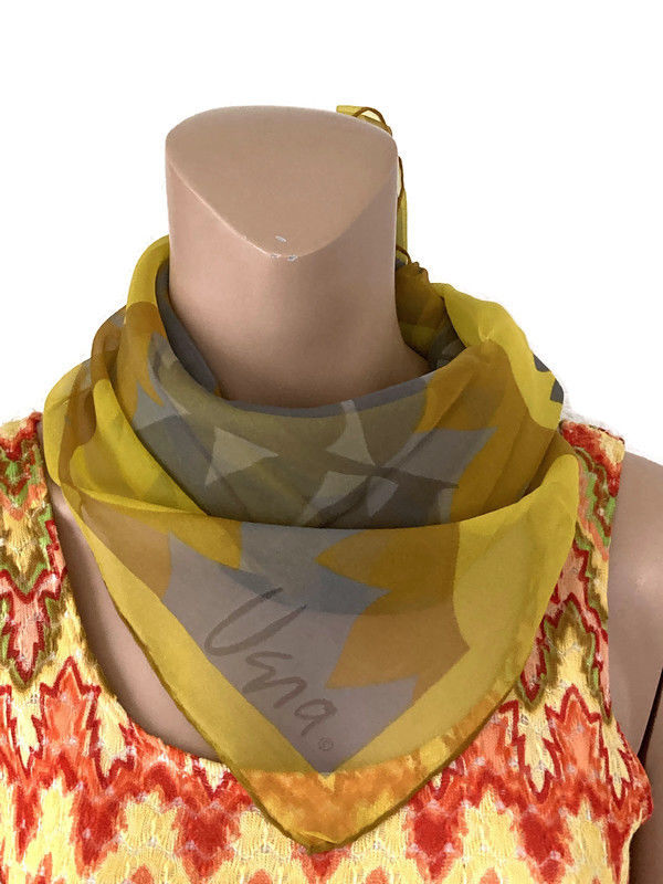 Vera Sheer Scarf with Yellow and Gray Sunflowers and Leaves - product image