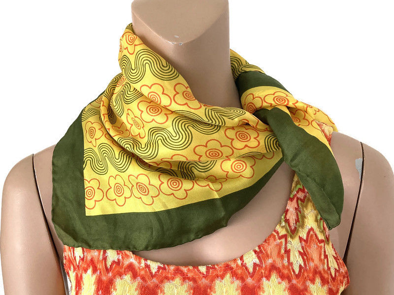 Vintage 100% Silk Scarf by Glentex Green, Yellow, Orange Mod Flowers - product images  of