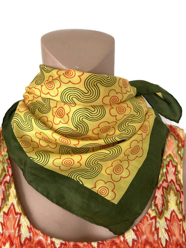 Vintage 100% Silk Scarf by Glentex Green, Yellow, Orange Mod Flowers - product image