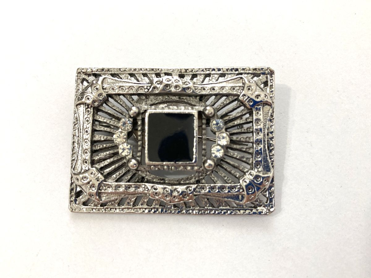Art Deco Brooch Silver Tone Black Enamel & Rhinestone - product images  of