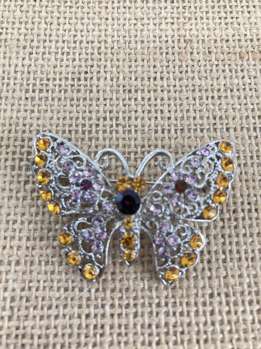 Rhinestone & Filigree Butterfly Brooch - product images  of