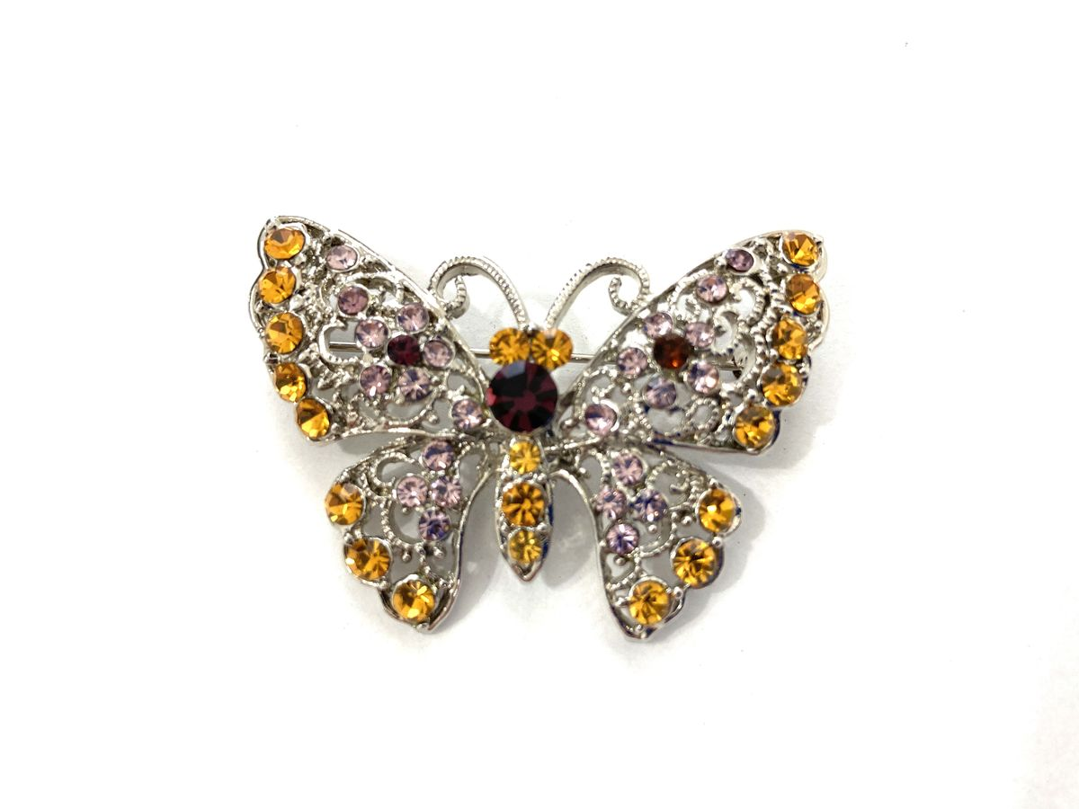 Rhinestone & Filigree Butterfly Brooch - product image
