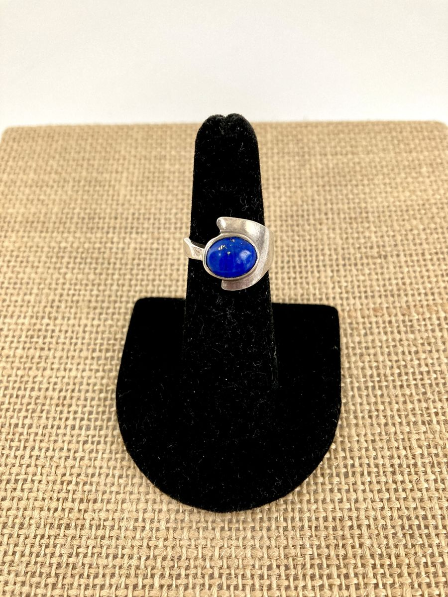 Modernist Sterling Silver Lapis Lazuli Ring - product image