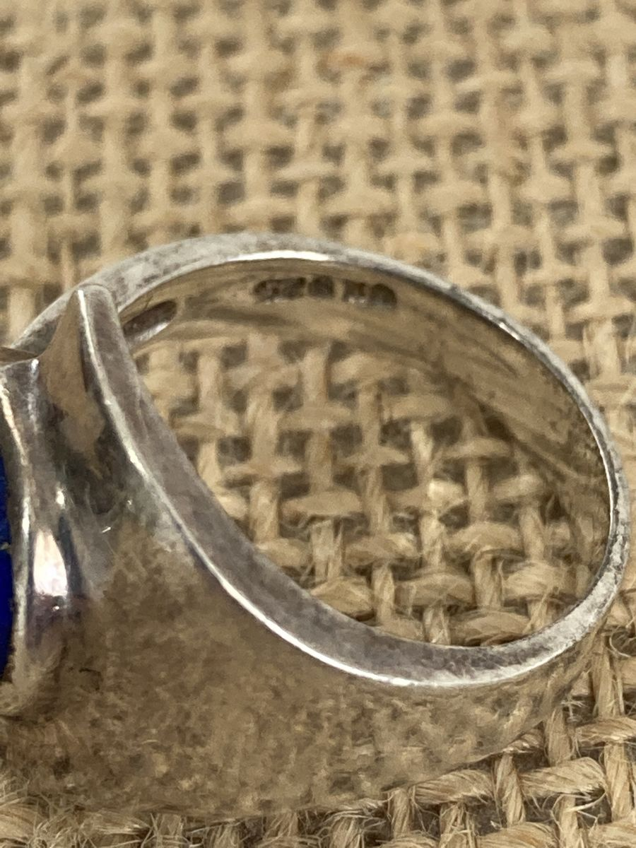 Modernist Sterling Silver Lapis Lazuli Ring - product images  of