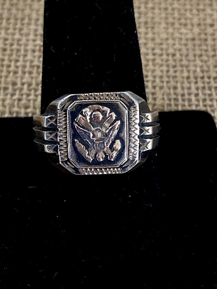 Mens WWII Silver Eagle Ring  - product image