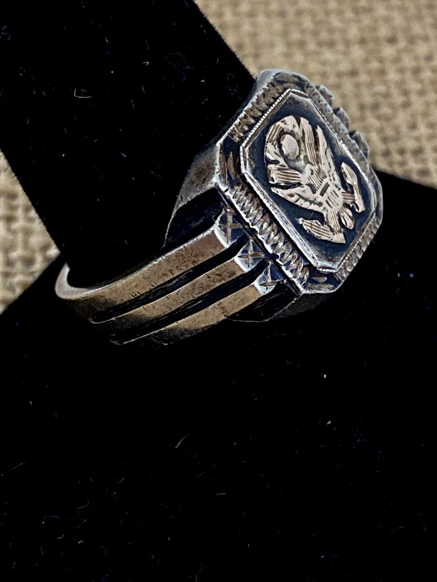 Mens WWII Silver Eagle Ring  - product images  of
