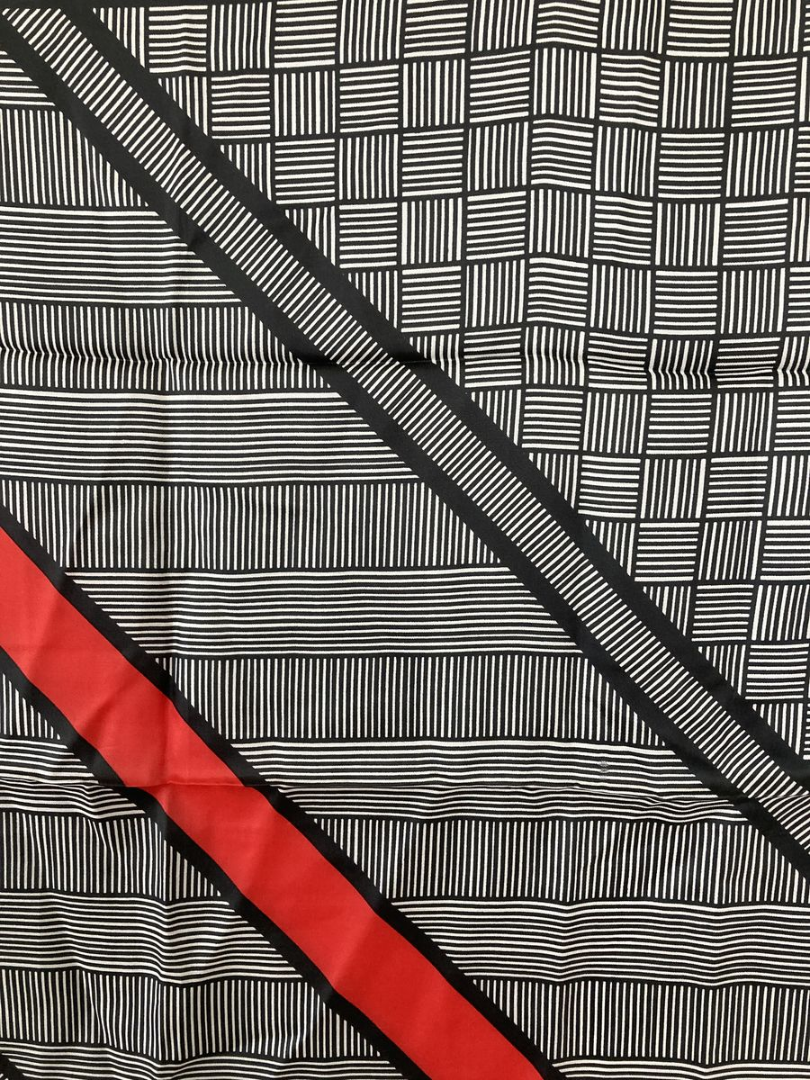 Vintage Silk Blend Scarf Black, White, and Red  - product images  of