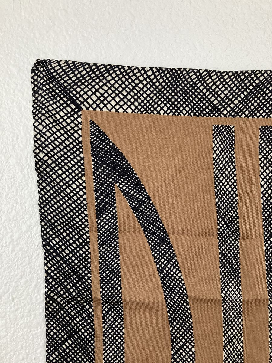 Vintage Bill Blass Logo Silk Scarf Brown, Black, and White - product images  of