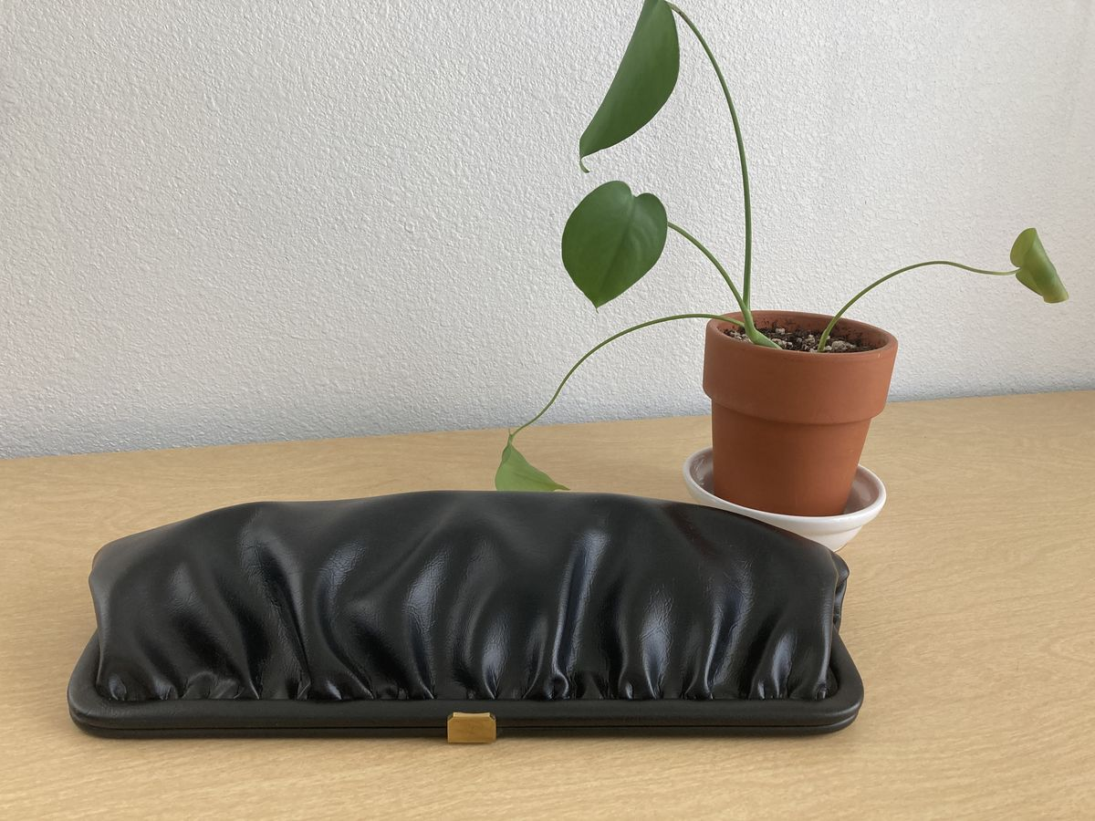 1950s Black Pleated Clutch Purse - product image
