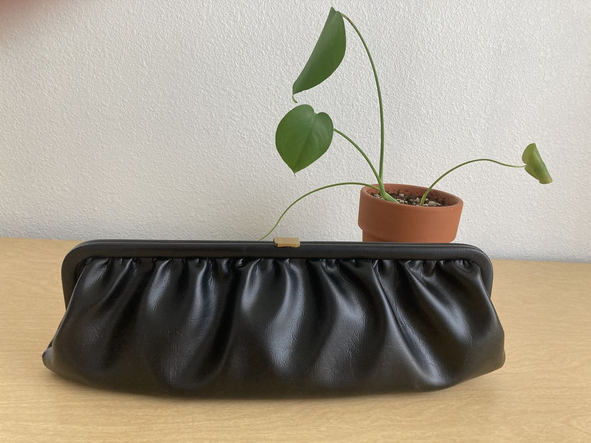 1950s Black Pleated Clutch Purse - product images  of