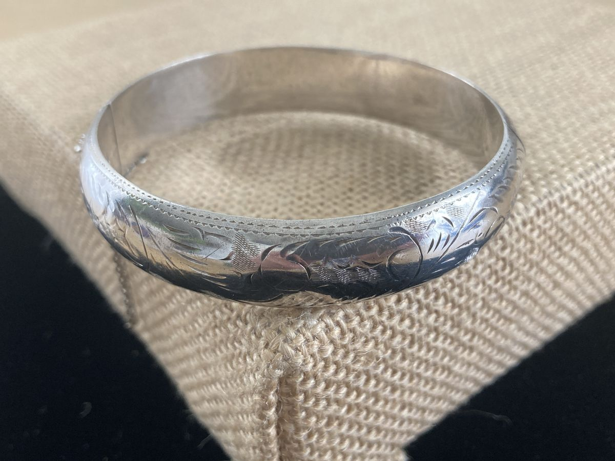 Sterling Silver Etched Hinged Bangle Bracelet - product images  of