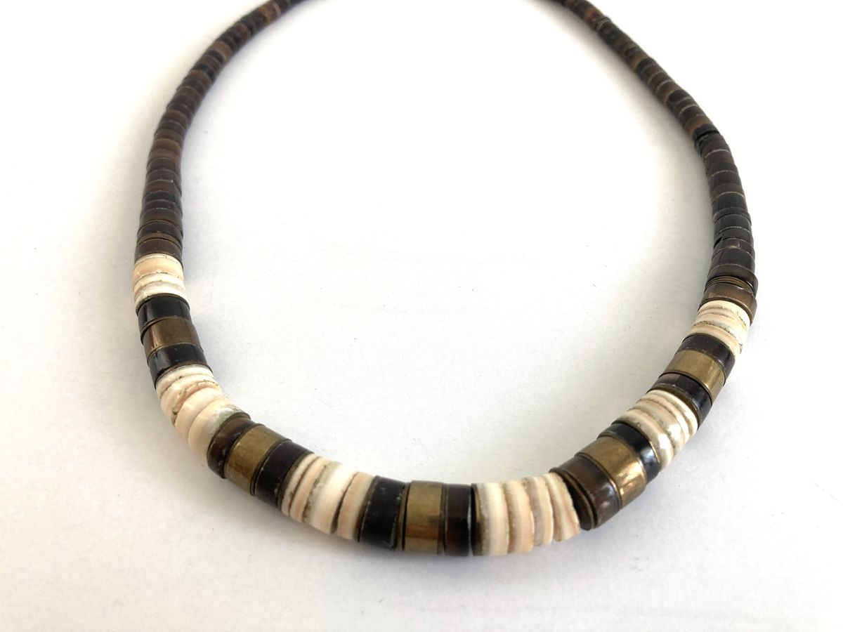 Vintage Heishi Shell, Puka, and Brass Bead Necklace - product images  of