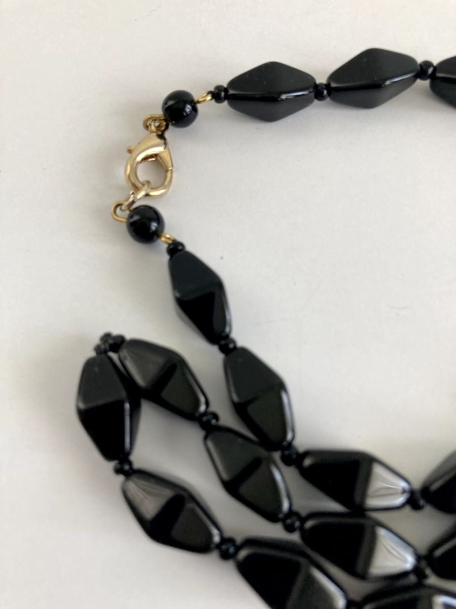 Vintage Black Glass Bicone Bead Necklace - product images  of