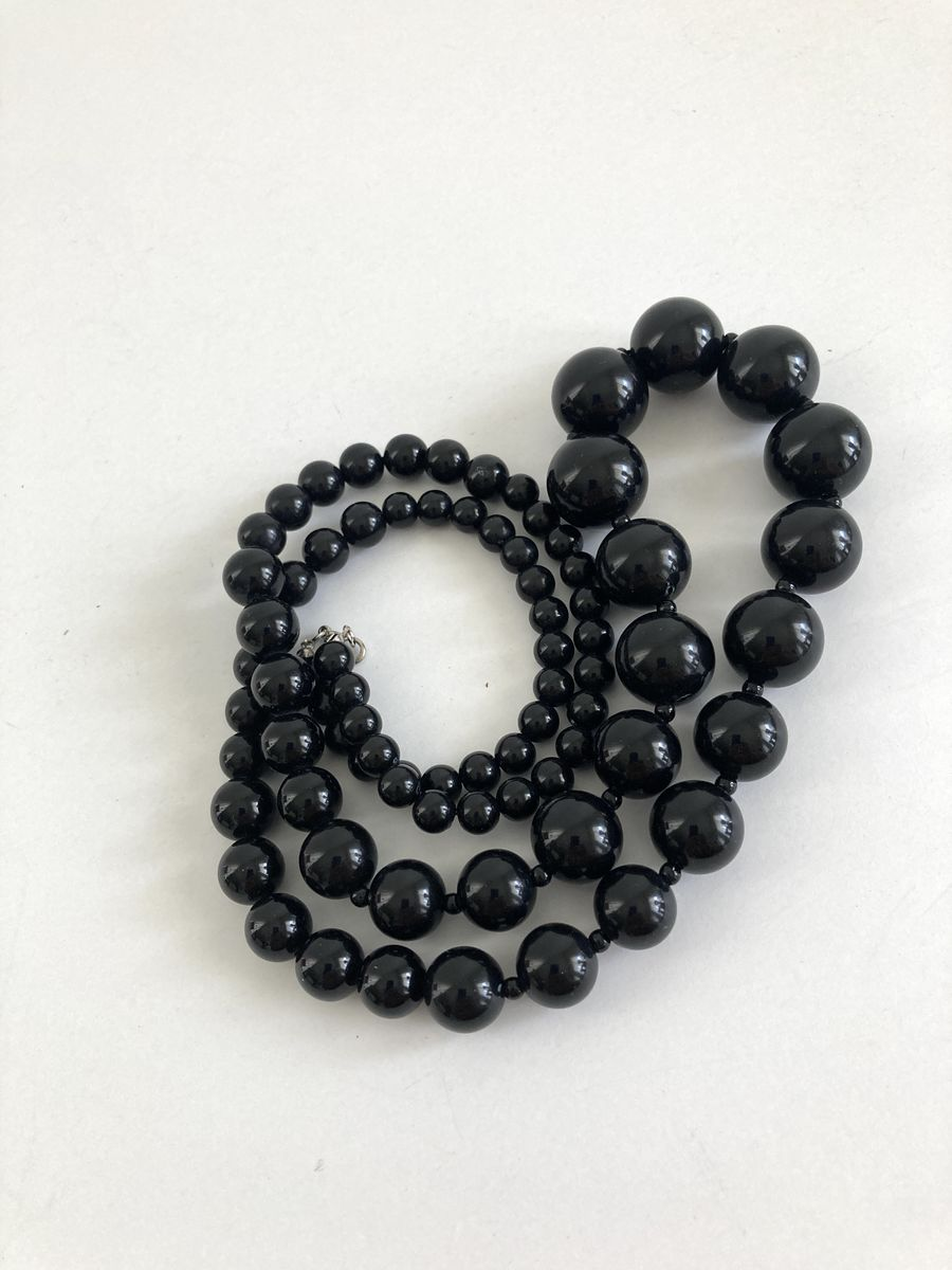 Long Black Graduated Bead Necklace Vintage 1980s - product image