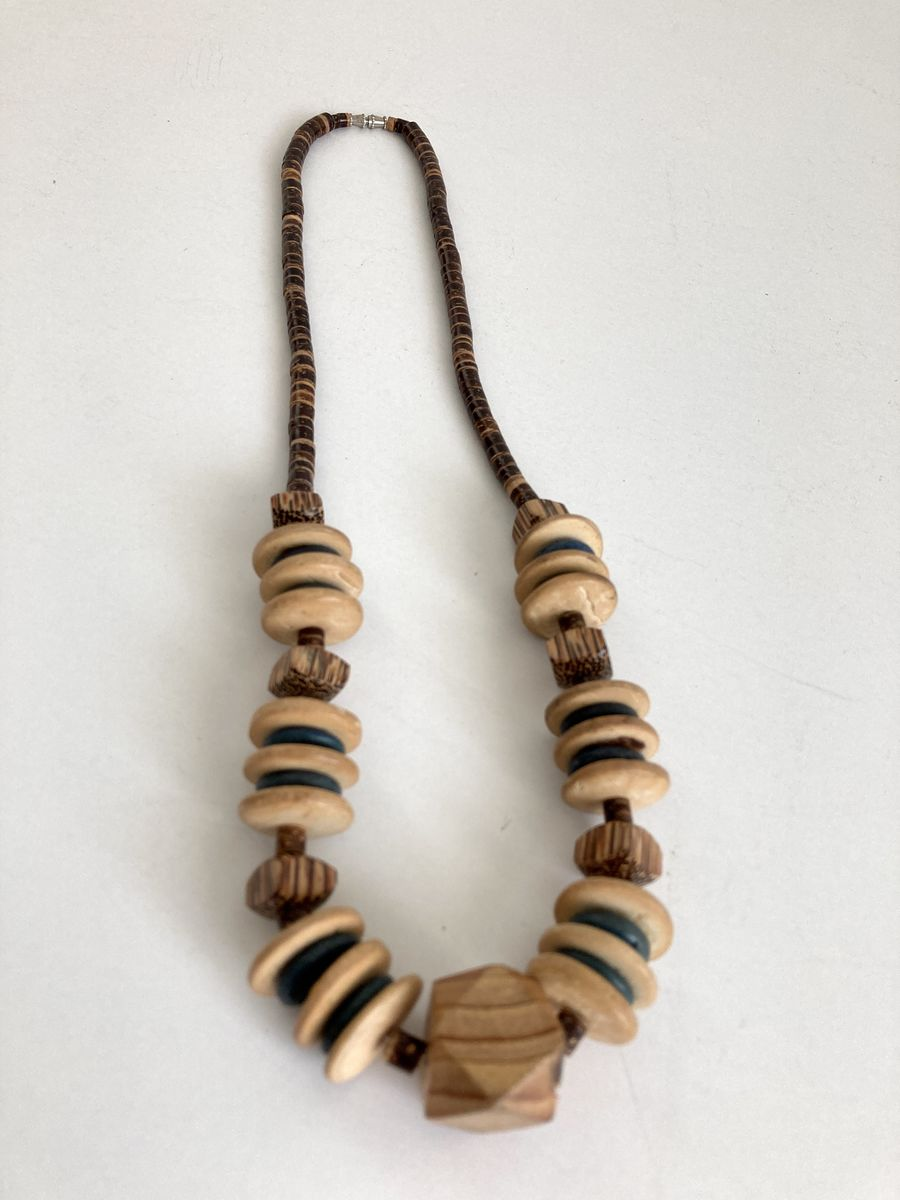 Vintage 70s Wood and Heishi Bead Necklace - product images  of