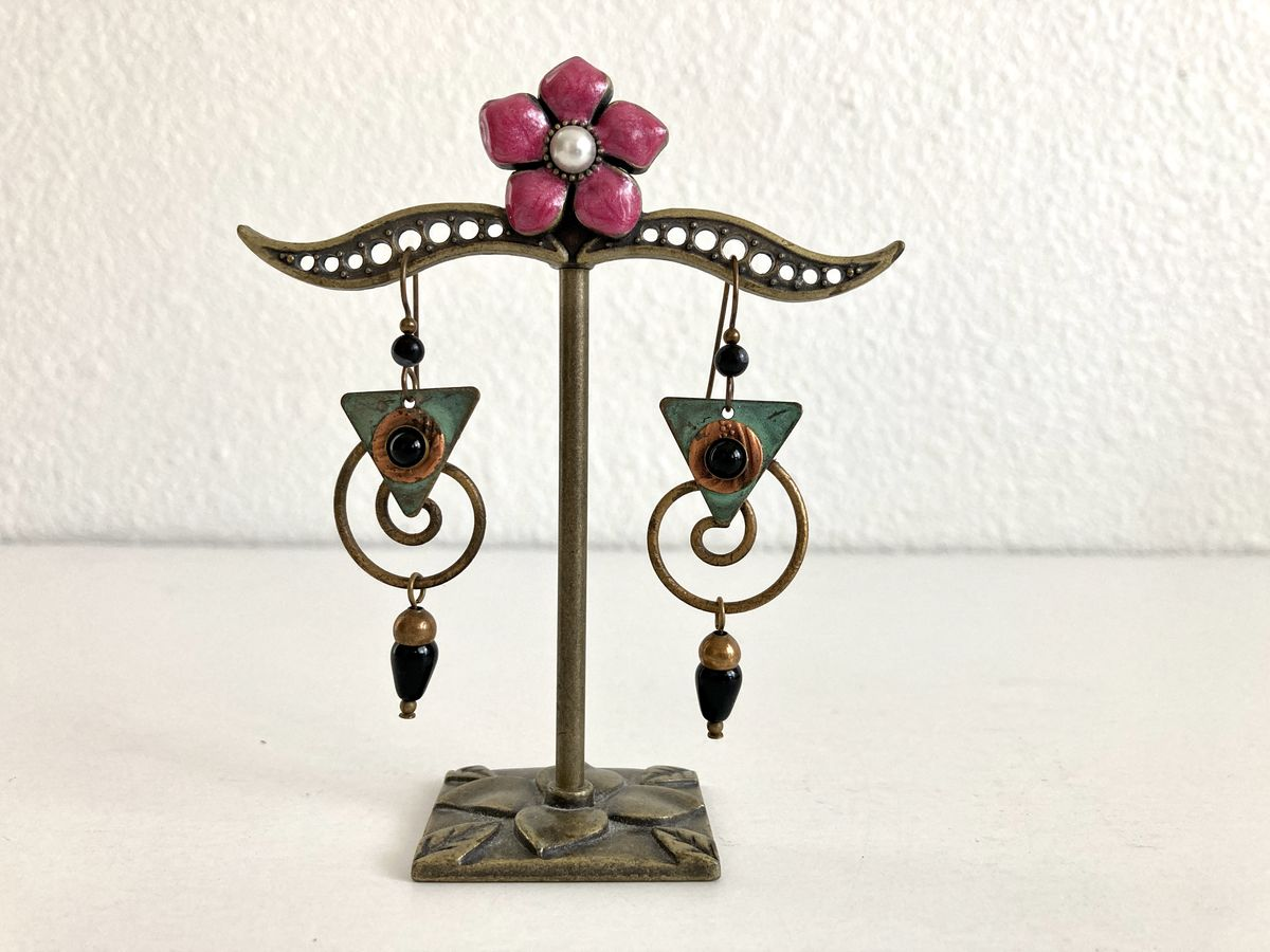Brass and Copper Beaded Dangle Earrings  - product image