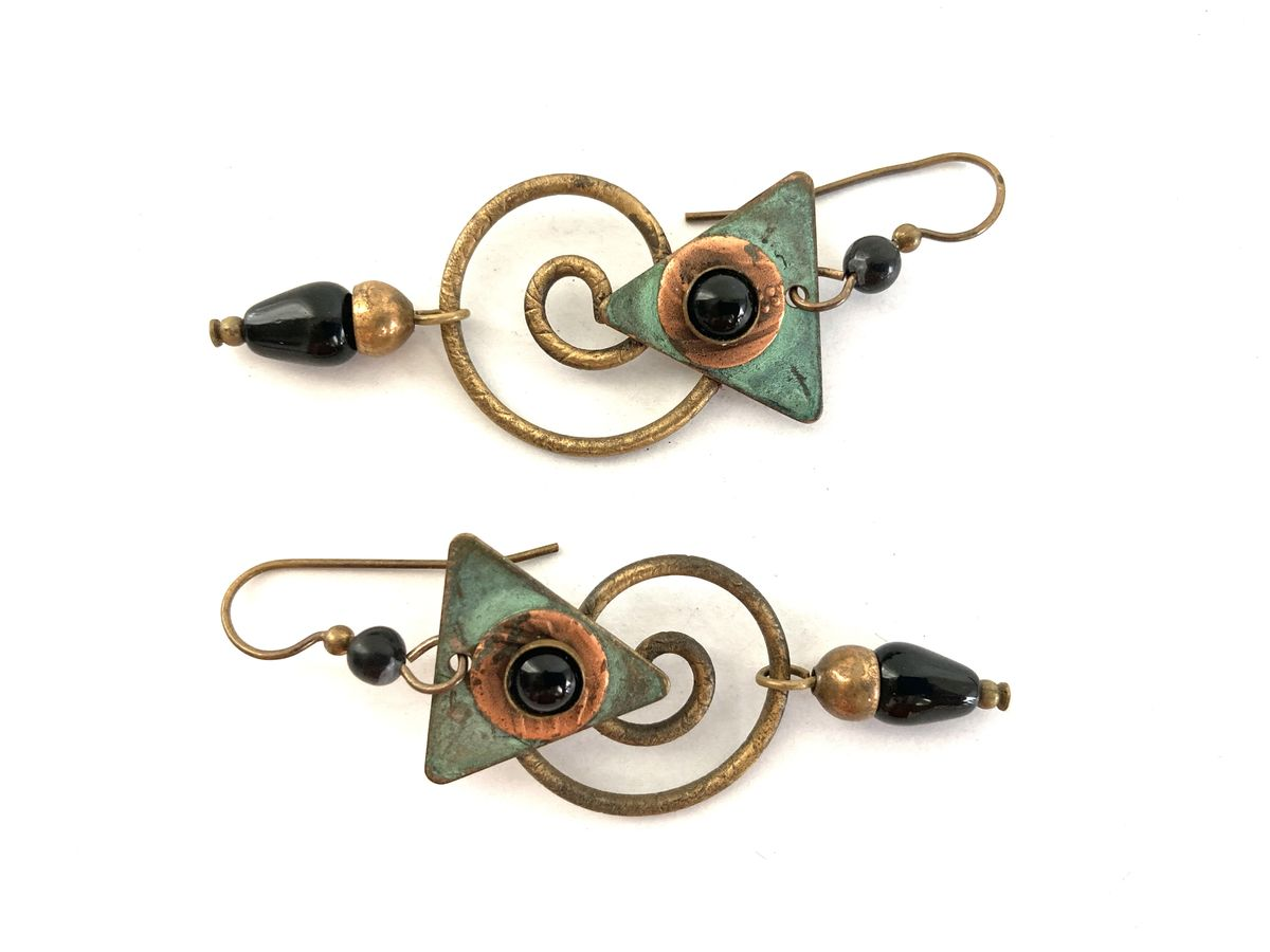 Brass and Copper Beaded Dangle Earrings  - product images  of