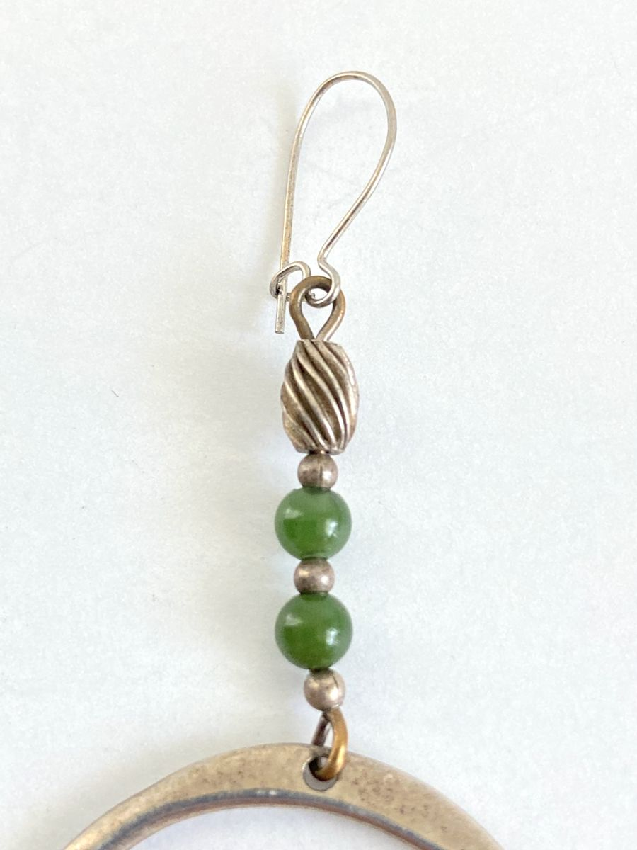 Sterling Silver and Nephrite/Jadeite Earrings Artist Made - product images  of