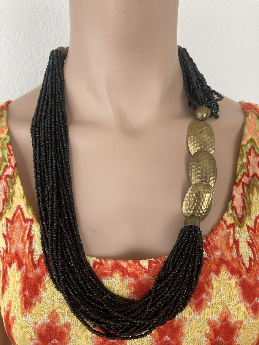 Black Multi-Strand Seed Bead Necklace w/Chunky Brass Accents - product images  of