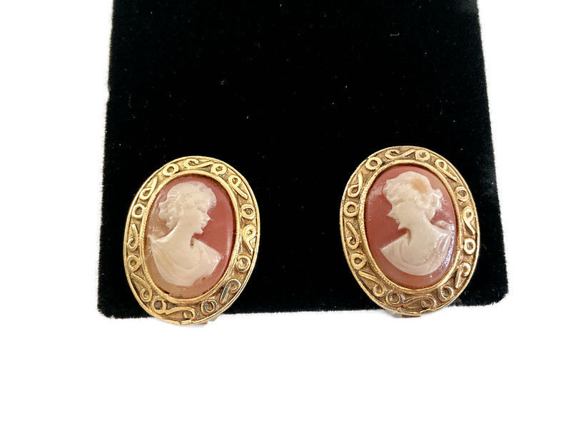 Cameo Earrings Faux Shell Gold Tone Clip Ons - product image