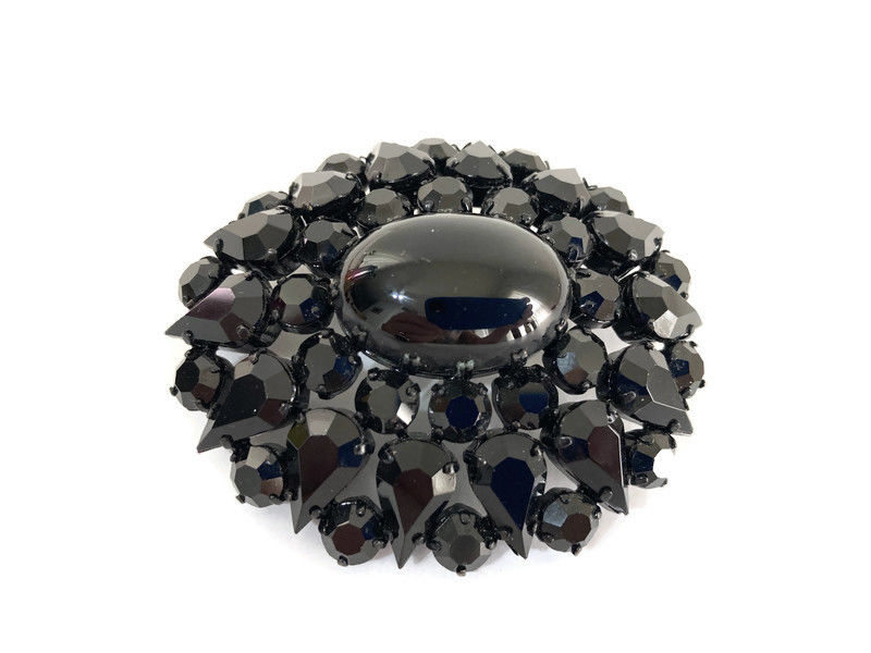 Black Faceted Glass Japanned Oval Brooch West Germany - product image