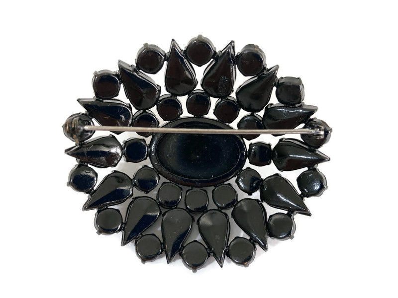 Black Faceted Glass Japanned Oval Brooch West Germany - product images  of