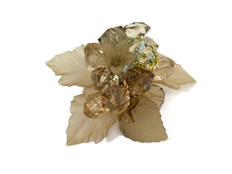 Leaves and Flowers Crystal Beaded Brooch  - product images  of