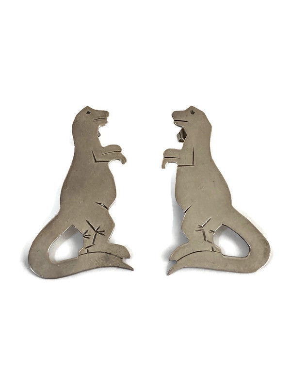 Sterling Silver T-Rex Dinosaur Earrings  - product image