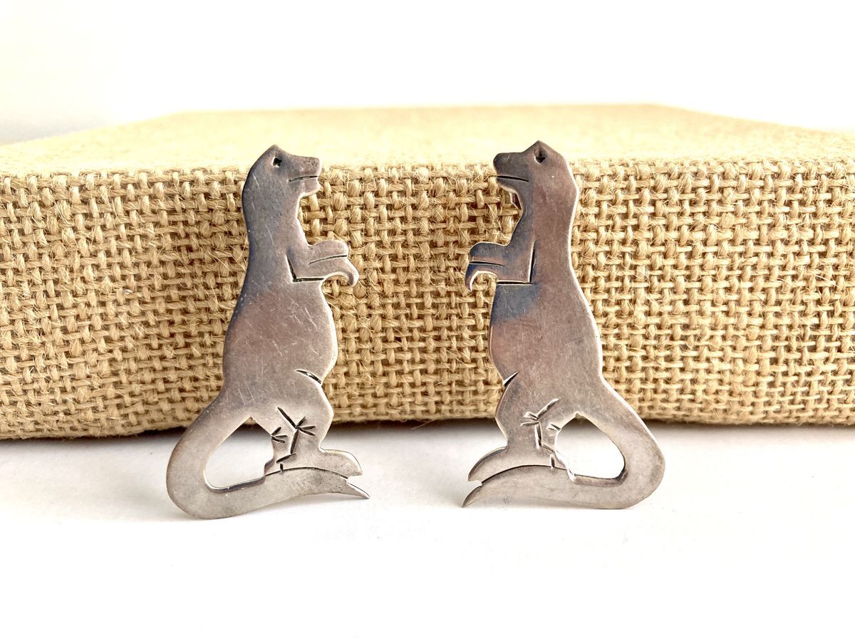 Sterling Silver T-Rex Dinosaur Earrings  - product images  of