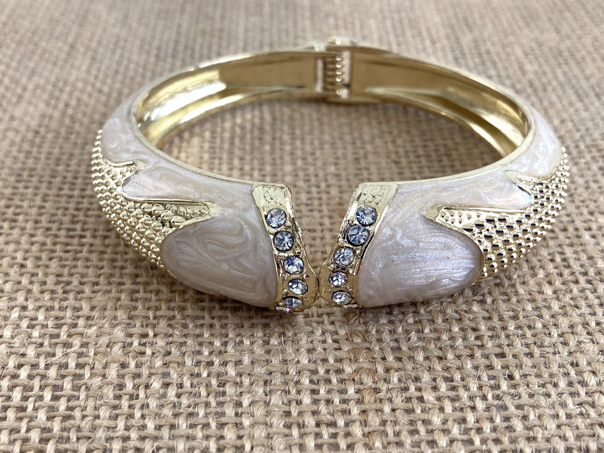 Vintage Cream Enamel and Gold Tone Hinge Bangle  - product image