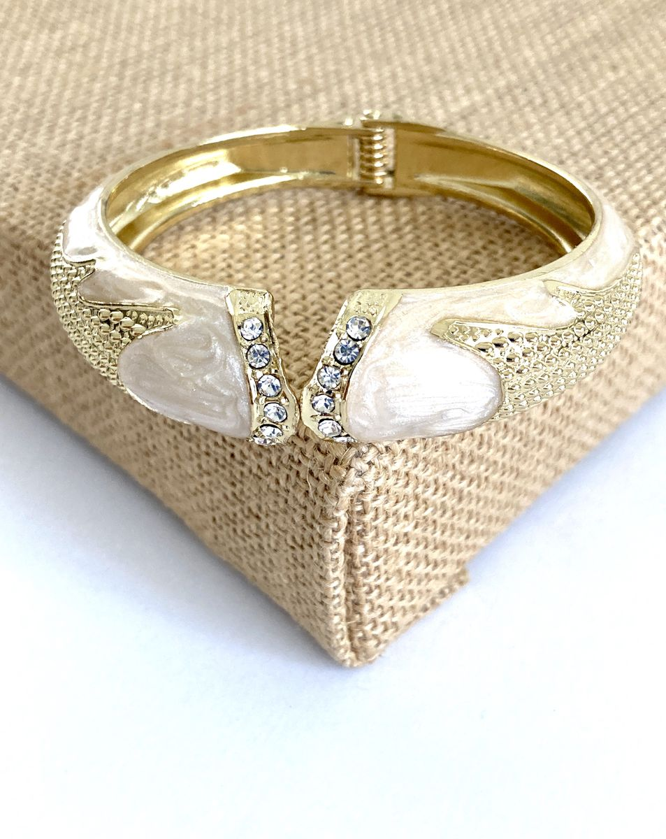 Vintage Cream Enamel and Gold Tone Hinge Bangle  - product images  of