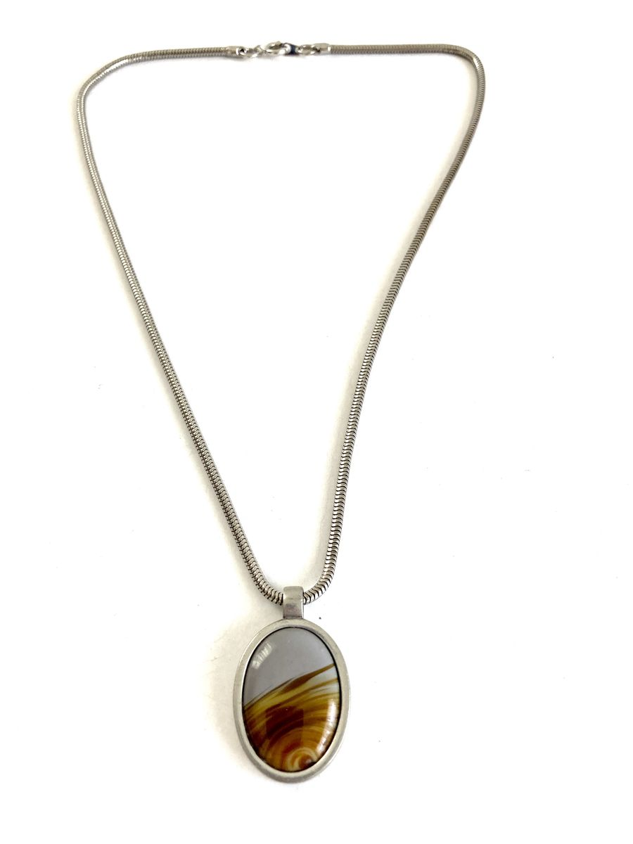 Banded Agate Pendant on Steel Snake Chain - product images  of