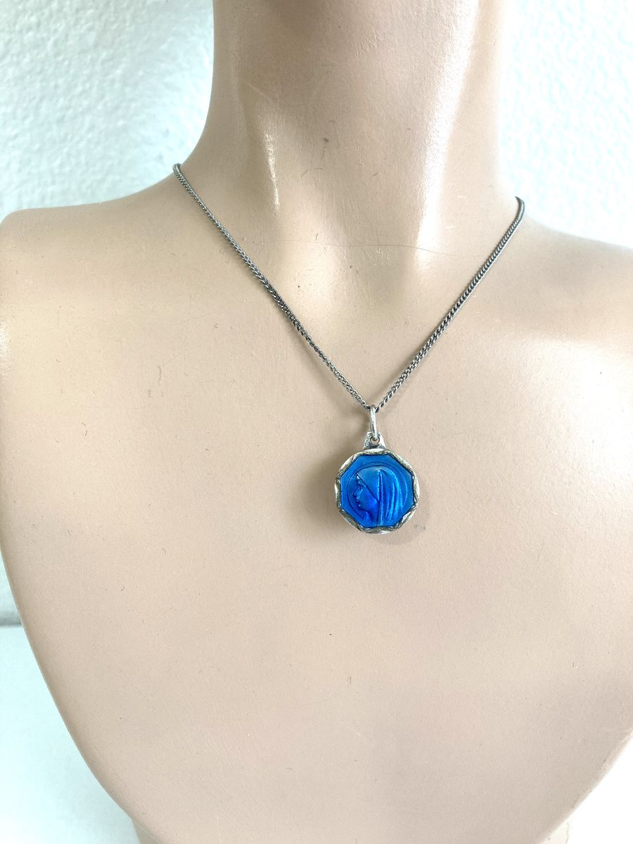 Lady of Lourdes Holy Water Pendant Necklace Blue Enamel on Silver - product image