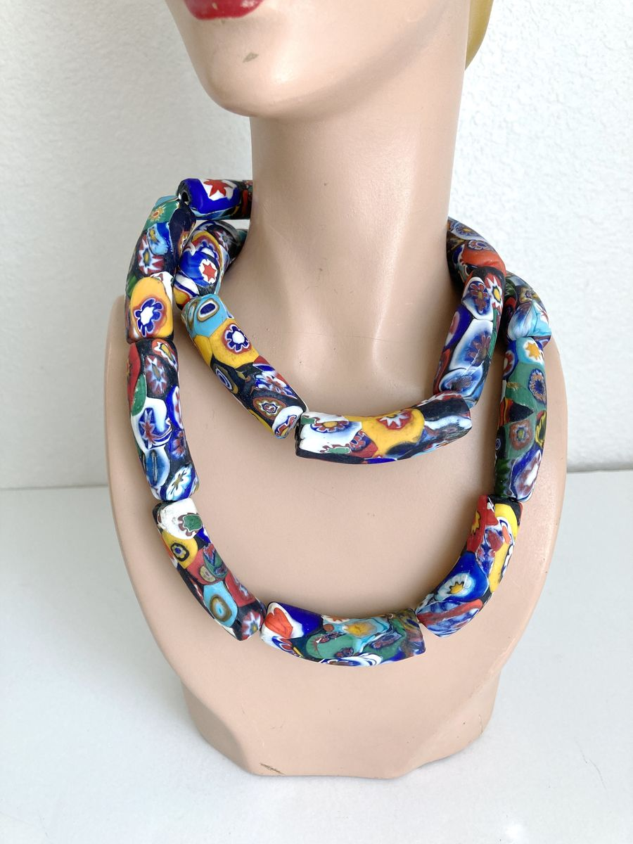 Art Deco Vintage Venetian Millefiori Glass Bead Necklace Trade Beads