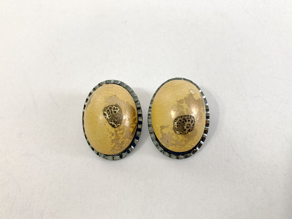Oval Yellow Splatter Paint Clip On Earrings Vintage Hong Kong - product images  of