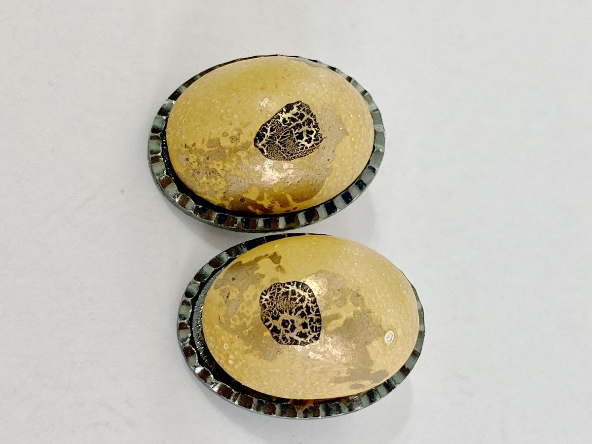 Oval Yellow Splatter Paint Clip On Earrings Vintage Hong Kong - product image