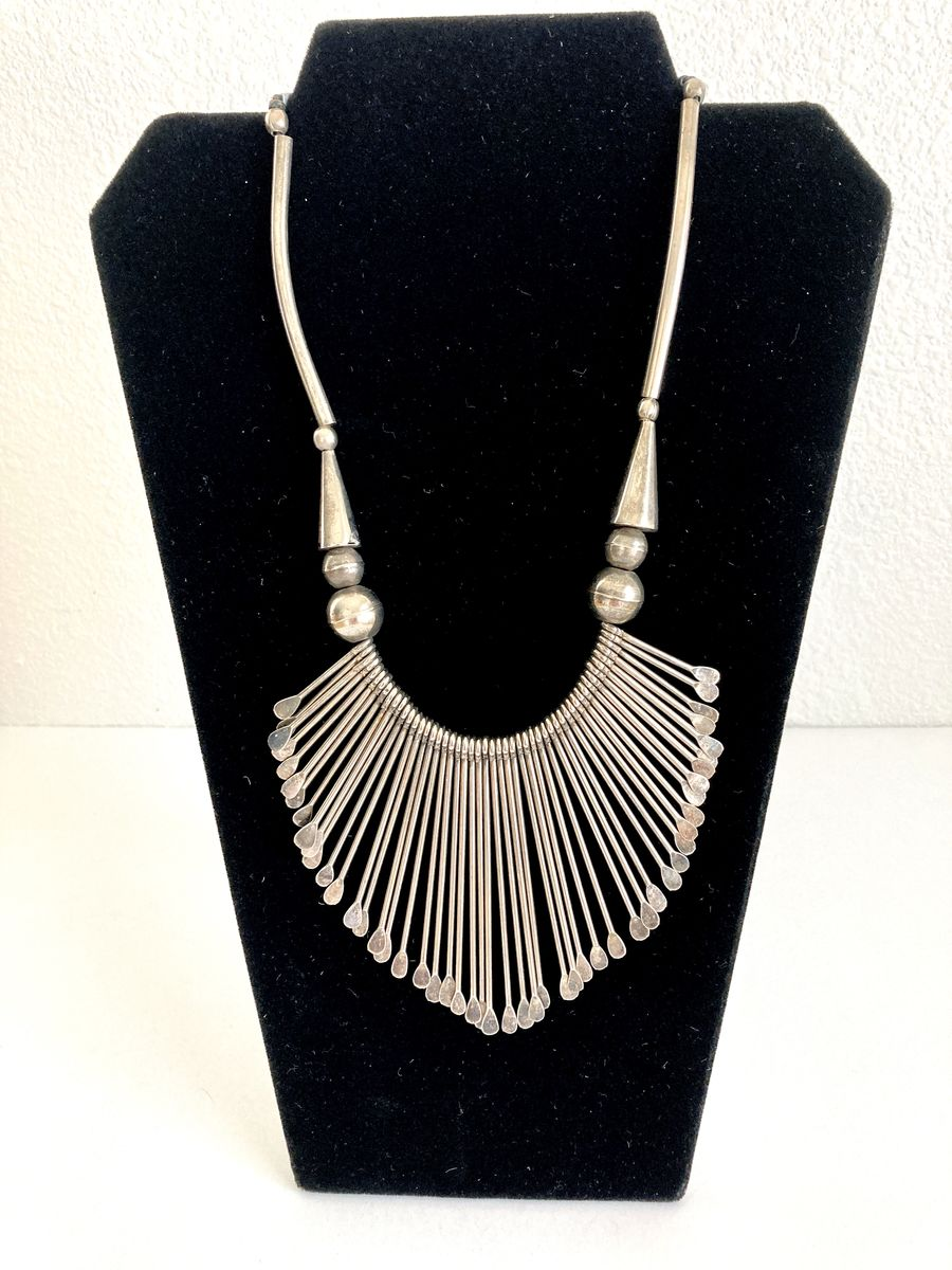 Silver Metal Fringe Bib Necklace - product image